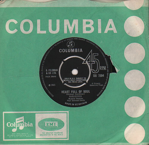 "The Yardbirds Heart Full Of Soul 7"" vinyl single (7 inch record) UK YDB07HE193366"