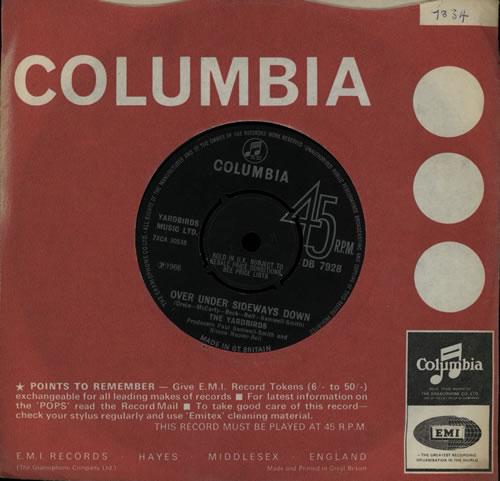"The Yardbirds Over Under Sideways Down 7"" vinyl single (7 inch record) UK YDB07OV511780"