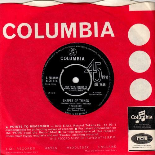 "The Yardbirds Shapes Of Things 7"" vinyl single (7 inch record) UK YDB07SH193361"