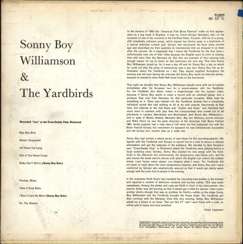 The Yardbirds Sonny Boy Williamson & The Yardbirds - 1st - EX vinyl LP album (LP record) UK YDBLPSO692018