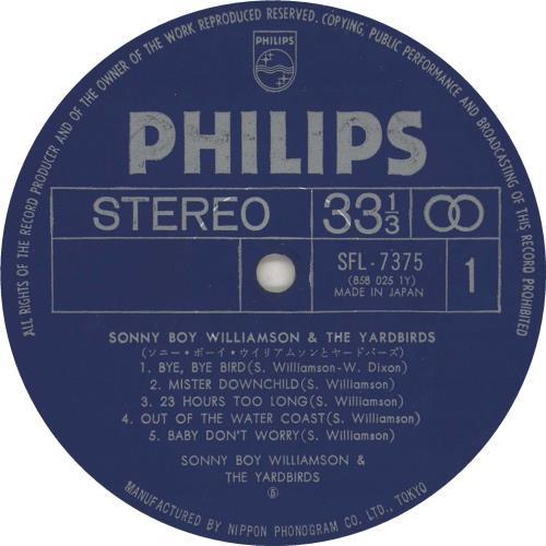 The Yardbirds Sonny Boy Williamson & The Yardbirds vinyl LP album (LP record) Japanese YDBLPSO531395
