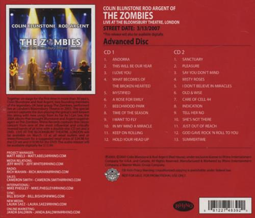The Zombies Live At The Bloomsbury Theatre CD-R acetate US ZOMCRLI394737