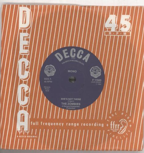 """The Zombies She's Not There - 1982 7"""" vinyl single (7 inch record) UK ZOM07SH640133"""