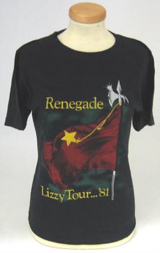 0e5a029b346 THIN LIZZY Renegade Tour (Rare ORIGINAL 1981 UK small size vintage black  cotton round neck tour T-shirt