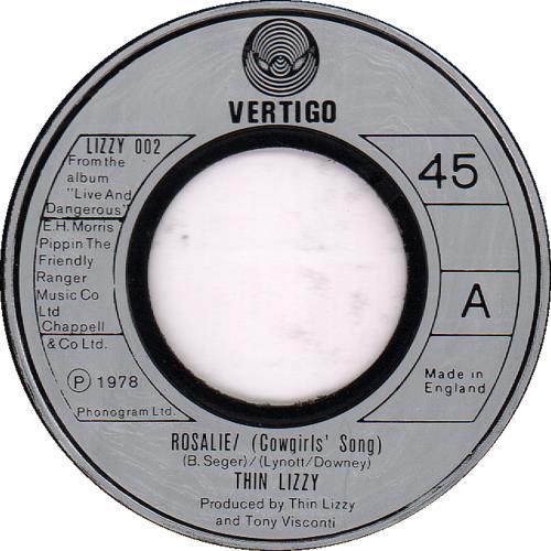 "Thin Lizzy Rosalie (Cowgirls' Song) - Jukebox 7"" vinyl single (7 inch record) UK THI07RO650187"