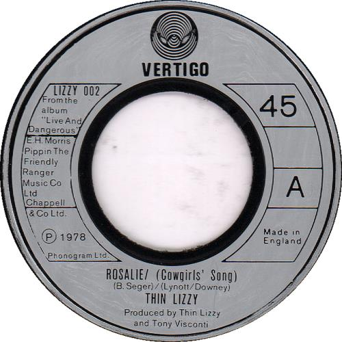 "Thin Lizzy Rosalie / (Cowgirls' Song) - Jukebox 7"" vinyl single (7 inch record) UK THI07RO650187"