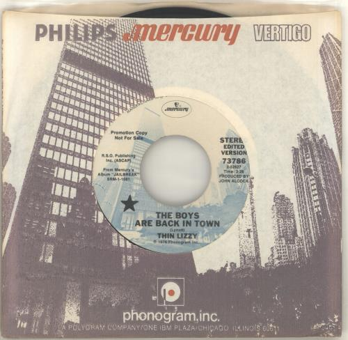 """Thin Lizzy The Boys Are Back In Town 7"""" vinyl single (7 inch record) US THI07TH364773"""