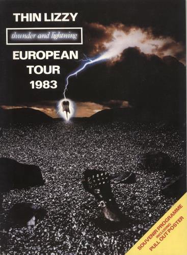 Thin Lizzy Thunder And Lightning + Poster - Autographed tour programme UK THITRTH774135