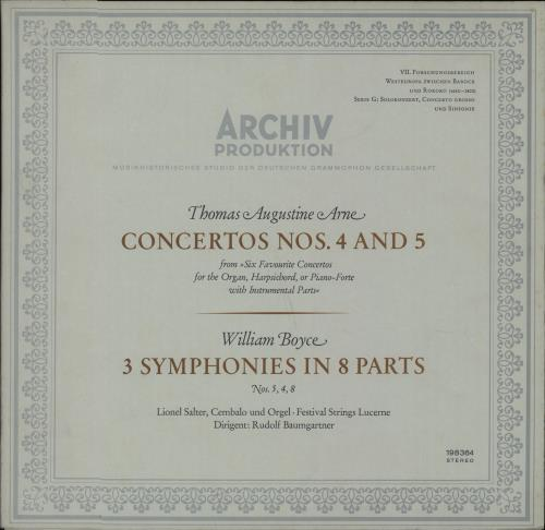 Thomas Arne Concertos Nos. 4 And 5 / 3 Symphonies In 8 Parts vinyl LP album (LP record) German U2YLPCO670501