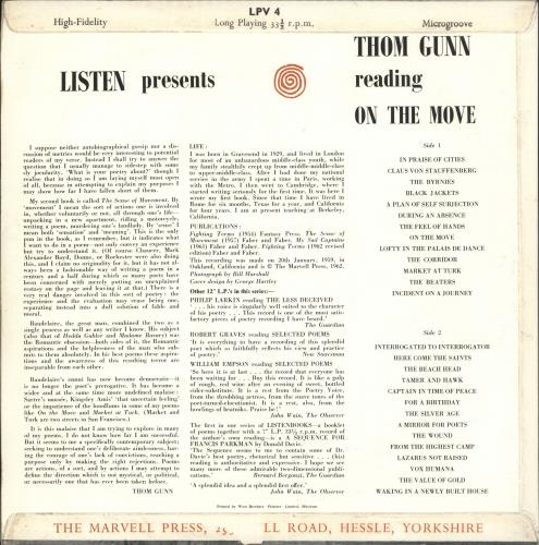 Thom Gunn Reading On The Move vinyl LP album (LP record) UK Y7OLPRE710870