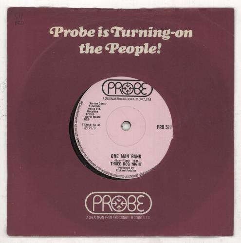 """Three Dog Night One Man Band 7"""" vinyl single (7 inch record) UK TDN07ON738656"""
