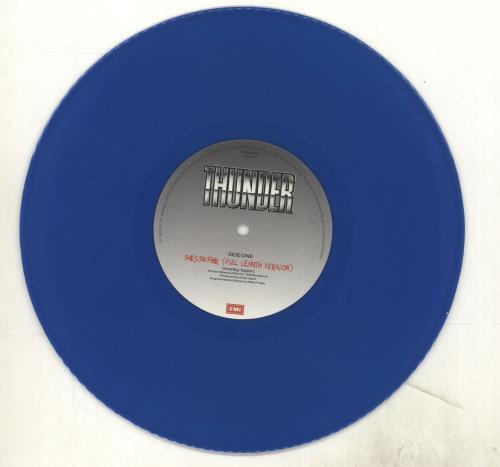 """Thunder She's So Fine - Donington' 90 - Blue Vinyl 10"""" vinyl single (10"""" record) UK THU10SH01230"""