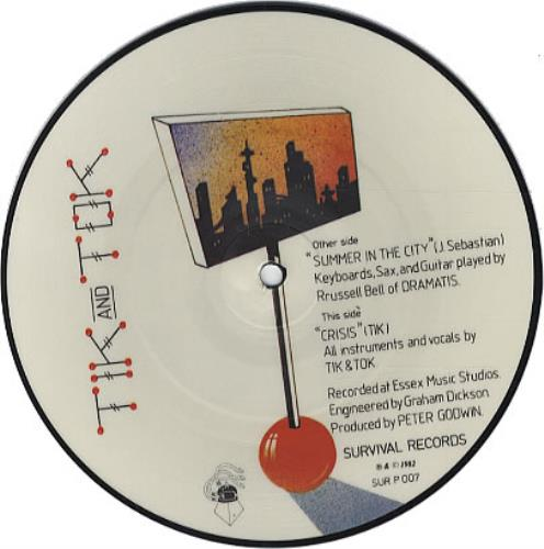 "Tik & Tok Summer In The City 7"" vinyl picture disc 7 inch picture disc single UK TOK7PSU31599"