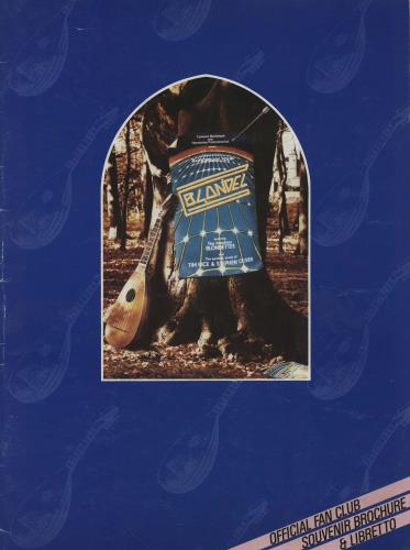 Tim Rice Blondel Souvenir Brochure tour programme UK IC4TRBL761640