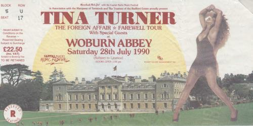 Tina Turner Foreign Affair World Tour + Ticket Stub tour programme UK TURTRFO454917