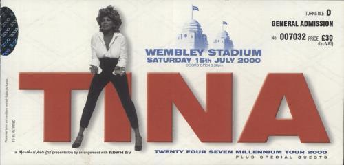 Tina Turner Twenty Four Seven + Ticket tour programme UK TURTRTW569352
