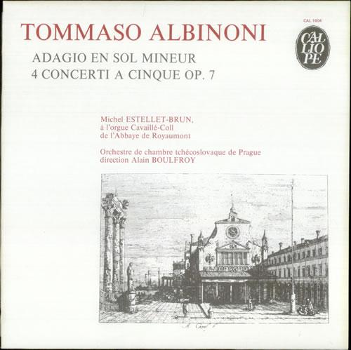 Tomaso Albinoni Adagio En Sol Mineur 4 Concerti A Cinque Op 7 French Vinyl Lp Album Lp Record 538248