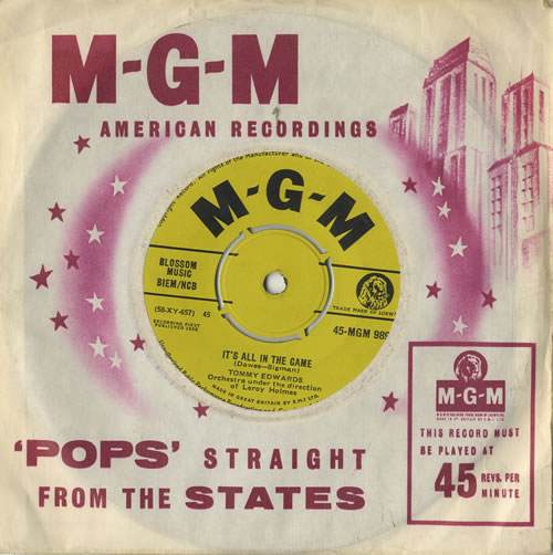"""Tommy Edwards It's All In The Game 7"""" vinyl single (7 inch record) UK T0M07IT420229"""