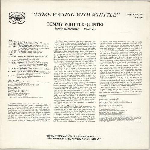 Tommy Whittle More Waxing With Whittle vinyl LP album (LP record) UK T7WLPMO696966