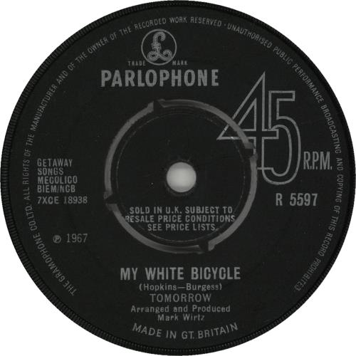 "Tomorrow My White Bicycle - 1st 7"" vinyl single (7 inch record) UK RRW07MY673531"