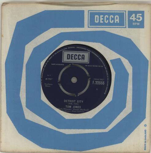 "Tom Jones Detroit City 7"" vinyl single (7 inch record) UK TJO07DE687604"