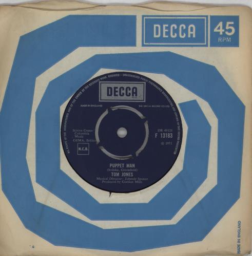 "Tom Jones Puppet Man 7"" vinyl single (7 inch record) UK TJO07PU750808"