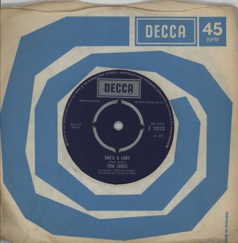 """Tom Jones She's A Lady 7"""" vinyl single (7 inch record) UK TJO07SH750807"""