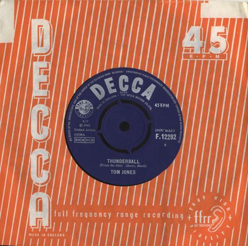 "Tom Jones Thunderball 7"" vinyl single (7 inch record) UK TJO07TH242454"