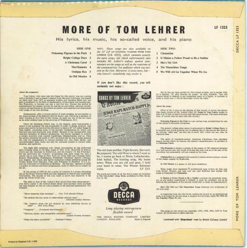 """Tom Lehrer More Of Tom Lehrer 10"""" vinyl single (10"""" record) UK TL.10MO769583"""