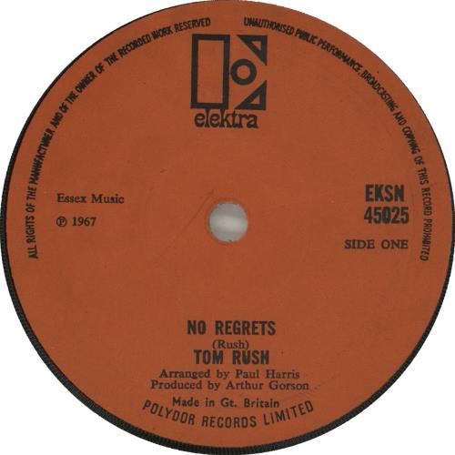"Tom Rush No Regrets 7"" vinyl single (7 inch record) UK T-R07NO712731"