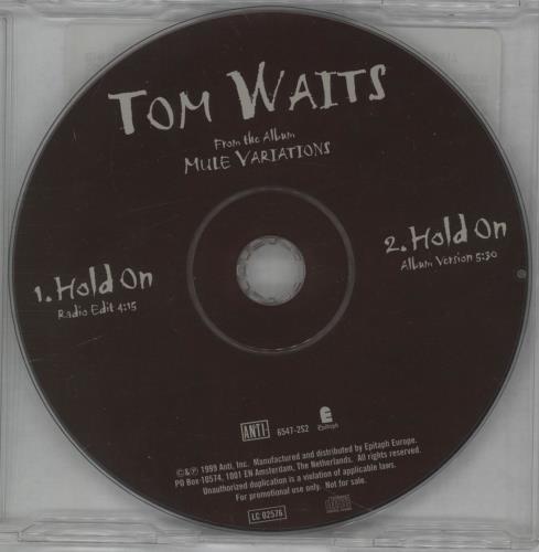 "Tom Waits Hold On CD single (CD5 / 5"") Dutch TMWC5HO143740"