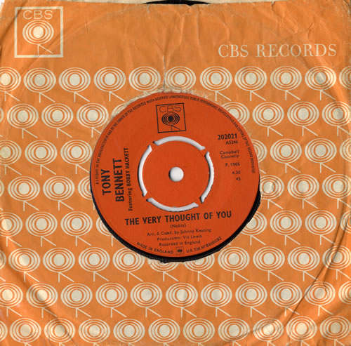 """Tony Bennett The Very Thought Of You 7"""" vinyl single (7 inch record) UK ONY07TH504393"""