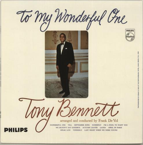 Tony Bennett To My Wonderful One vinyl LP album (LP record) UK ONYLPTO696920