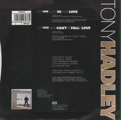"Tony Hadley Lost In Your Love 7"" vinyl single (7 inch record) UK TON07LO76566"
