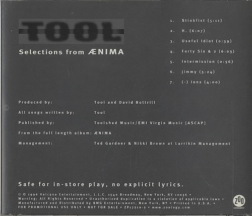 Tool Selections From Aenima US Promo CD single (CD5 / 5
