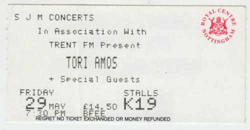 Tori Amos Plugged Tour Programme + Ticket Stub tour programme UK TORTRPL456536