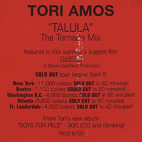 """Tori Amos Talula - Red Sticker CD single (CD5 / 5"""") US TORC5TA66538"""
