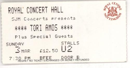 Tori Amos Tour 1996-97 + Ticket Stub tour programme UK TORTRTO726714