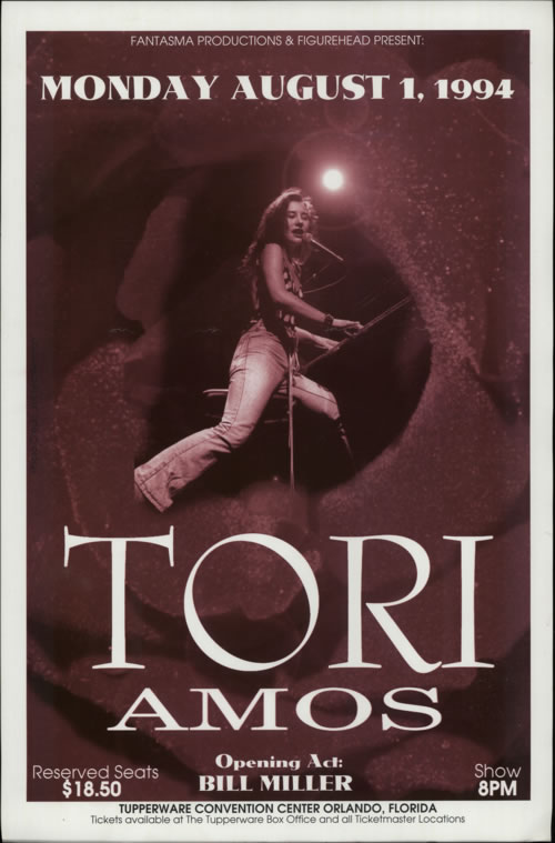 Tori Amos Tupperware Convention Centre August 1st 1995 poster US TORPOTU617940