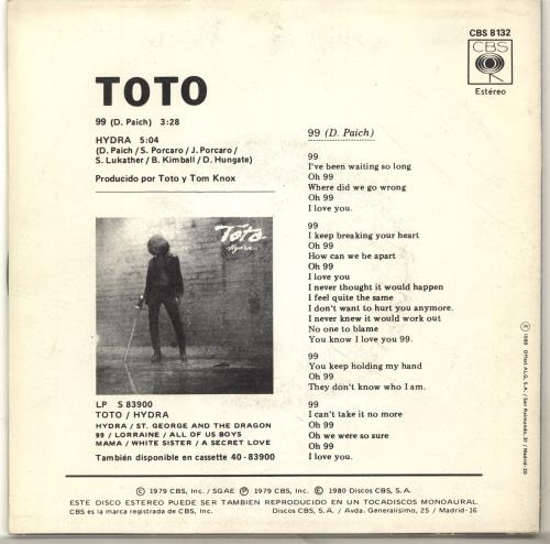 Toto 99 Ninety Nine 7 Vinyl Single Inch Record