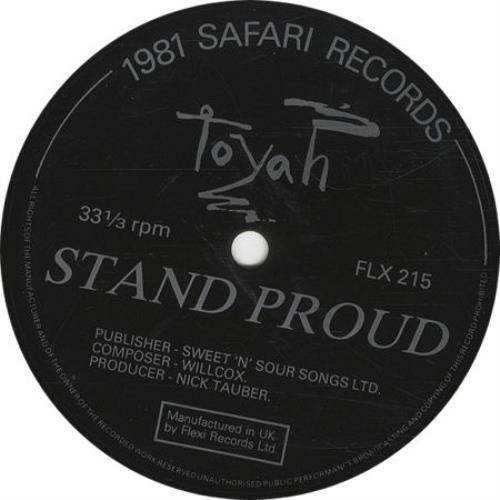 "Toyah Stand Proud - Flexi 7"" vinyl single (7 inch record) UK TYH07ST45224"