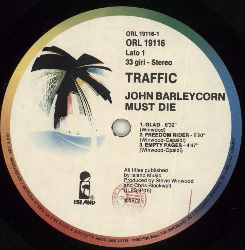 Traffic John Barleycorn Must Die vinyl LP album (LP record) Italian TRFLPJO271419