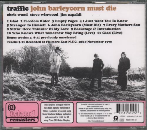Traffic John Barleycorn Must Die CD album (CDLP) UK TRFCDJO667293