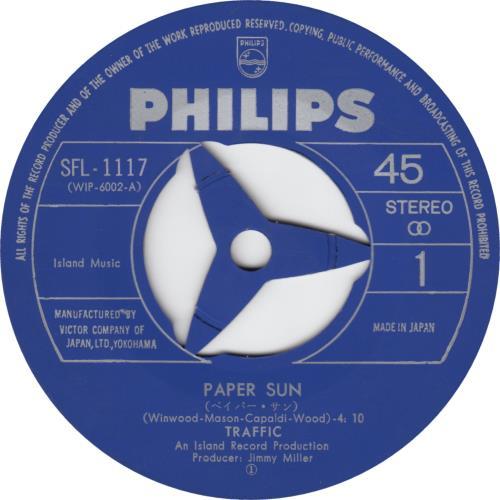 "Traffic Paper Sun - 1st 7"" vinyl single (7 inch record) Japanese TRF07PA655681"