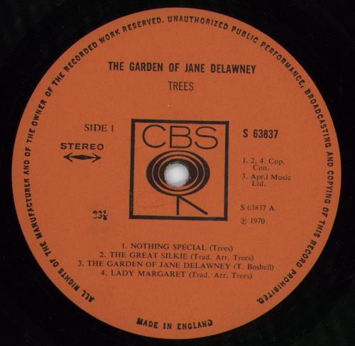 Trees The Garden Of Jane Delawney - 1st vinyl LP album (LP record) UK T.SLPTH718530
