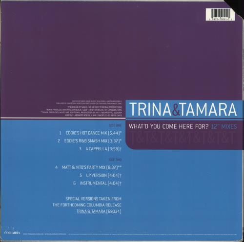"""Trina & Tamara What'd You Come Here For? 12"""" Mixes 12"""" vinyl single (12 inch record / Maxi-single) US Y3J12WH706253"""