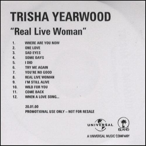 Trisha Yearwood Real Live Woman CD-R acetate UK TSYCRRE163882