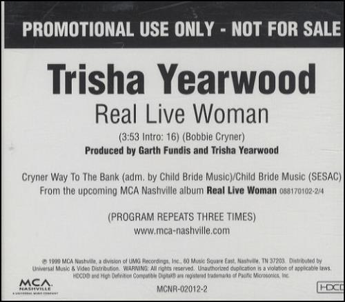 "Trisha Yearwood Real Live Woman CD single (CD5 / 5"") US TSYC5RE208354"