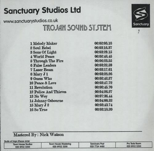 Trojan Records Trojan Sound System CD-R acetate UK T06CRTR569731