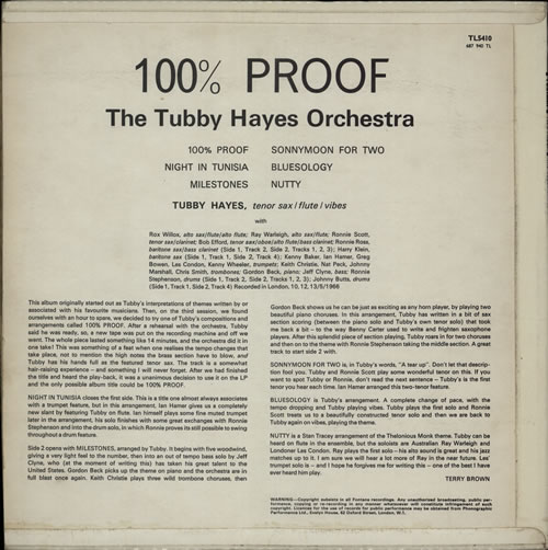 Tubby Hayes 100% Proof vinyl LP album (LP record) UK TH-LPPR441781
